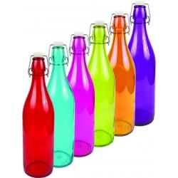 Butelka szklana KOLOR hermetyczna okrągła 1 l. na kapsel