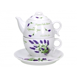 Komplet czajnik filiżanka spodek Lawenda 5979 Lubiana Bola 300 ml / 280 ml / 16,5 cm