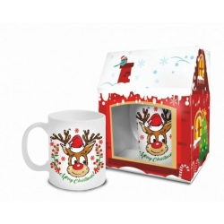 Kubek Chatka RENIFER MERRY CHRISTMAS 300 ml Boss karton domek