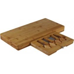 Deska bambusowa do serów z zestawem noży w kasetce