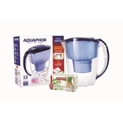 Aquaphor dzbanek Jasper SlimDetox 2,8 l. granatowy z licznikiem + wkład z magnezem B100-25 + herbatka